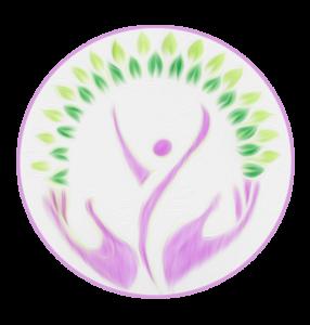 deux mains de couleur violette, soutenant un picto humain élançant ses bras vers le ciel. Le tout surmonté d'un arc de deux rangées de feuilles, une de couleur verte claire et l'autre verte foncée